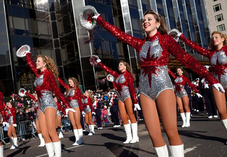 Dance teams add action to the Macy's Thanksgiving Day Parade.