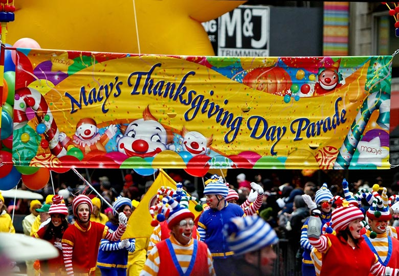 Clowns on parade, Thanksgiving Day.
