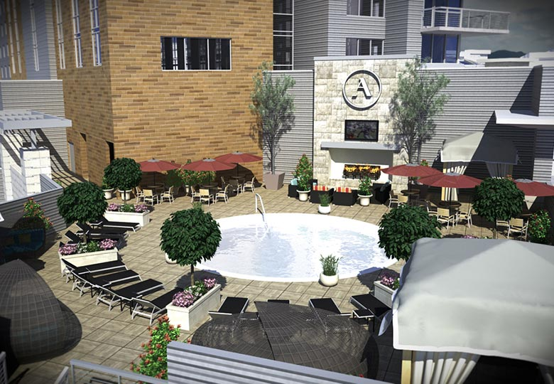 Archer Hotel Austin - pool and patio rendering
