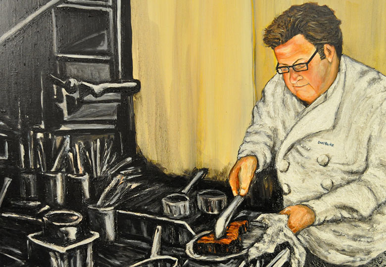 "Chef David Burke as part of Mitchell Schorr's ""Hot in the Kitchen"" oil on canvas series"