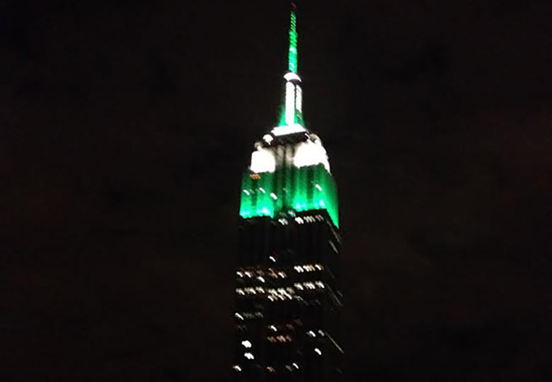 Empire State Building Shining Green
