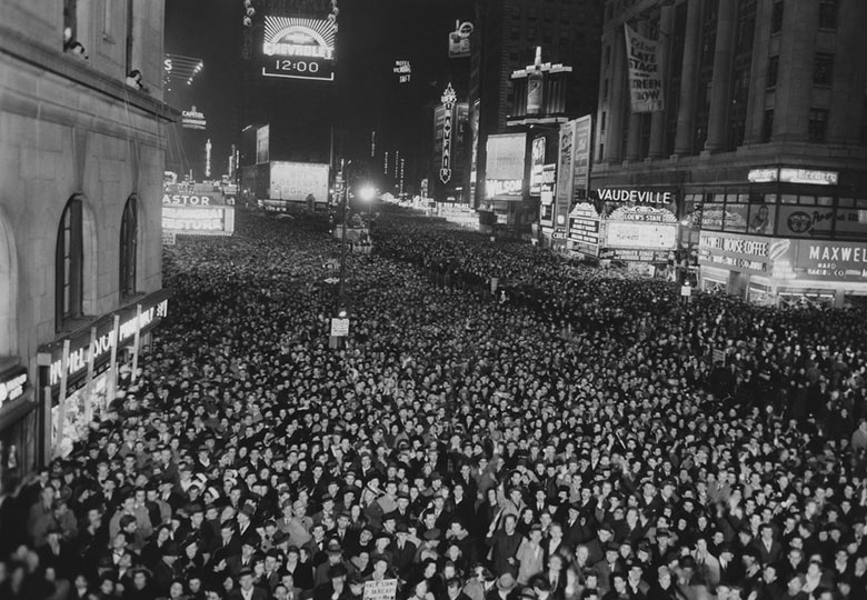 Vintage black and white picture of New Years Eve in New York City