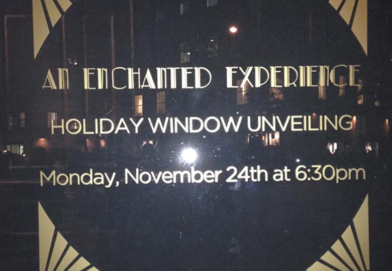 Holiday announcement on the window