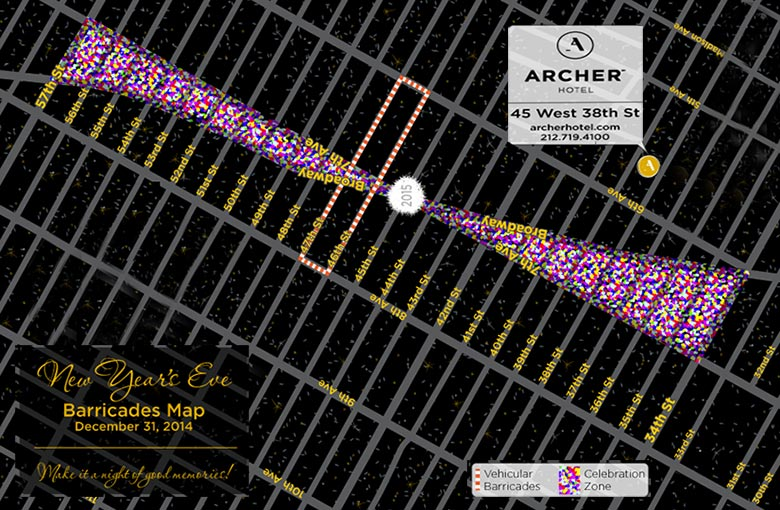 New Year's Eve barricades map and archer hotel new york