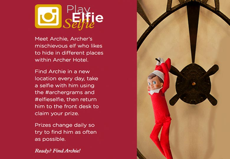 Instructions for playing Elfie Selfie at Archer Hotel New York with Elf of the Shelf Hanging from the clock
