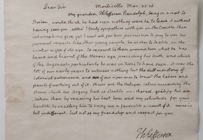 Thomas Jefferson's letter to Jon Adams at The New York Historical Society