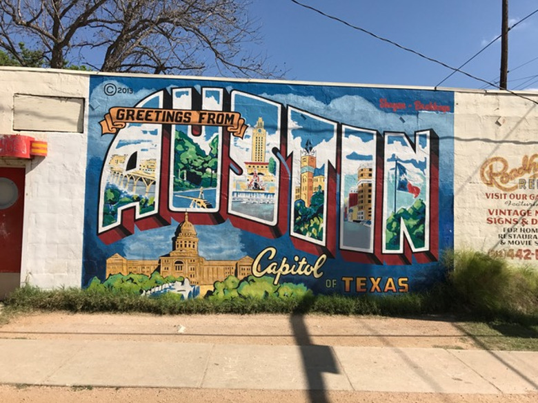 Mural of Greetings from Austin Capital of Texas