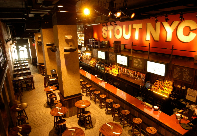 Stout NYC's large bar and dining area