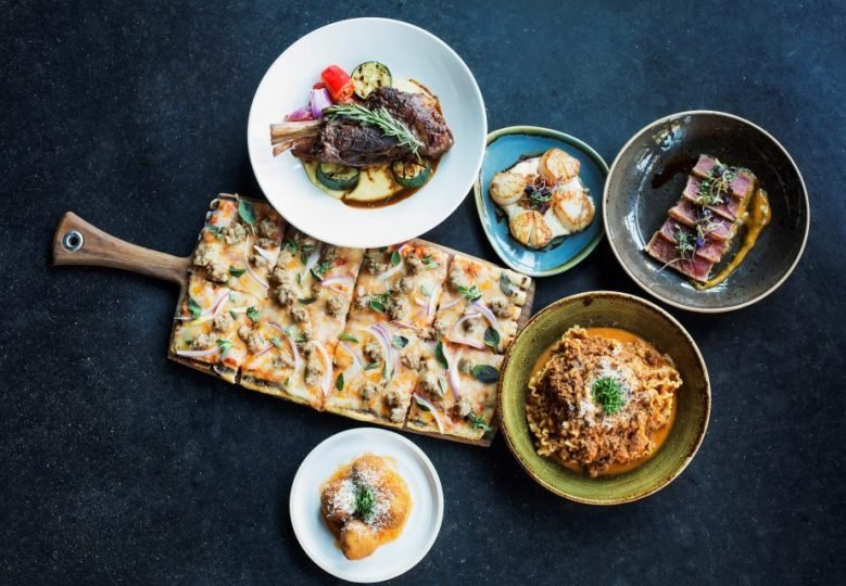 An array of small plates at Mia's Tapas