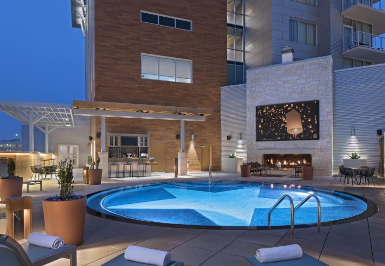 Archer Hotel Austin Pool Patio with TV on
