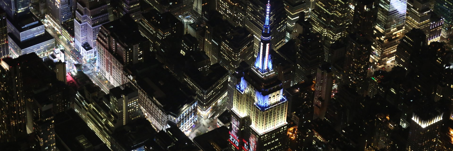Empire State Building displaying live results of the 2016 presidential election
