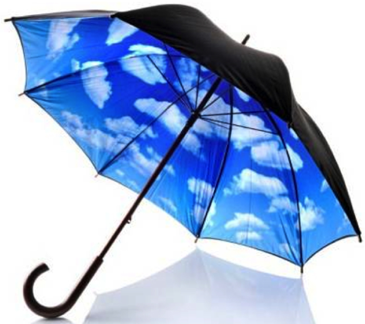 Black umbrella with blue skies and cloud on the inside