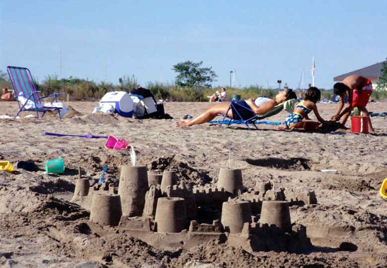 Fort Tilden - kids built castle on the beach