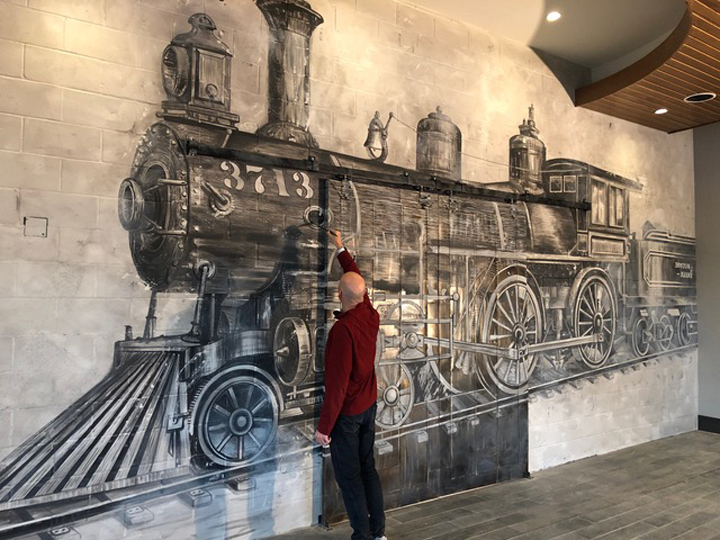 Photo courtesy of Andrew Tedesco Studios | The Boston & Maine #3713 Mural | Archer Hotel Burlington