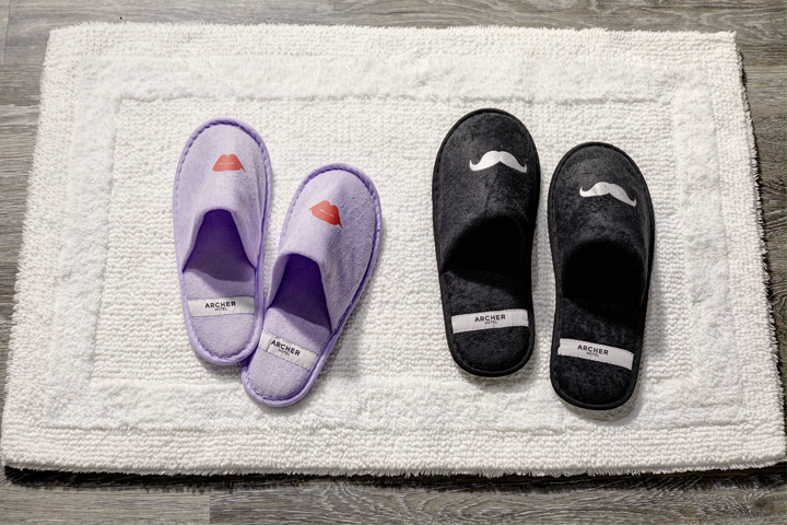 His-and-hers slippers | Welcome to Archer Hotel Burlington