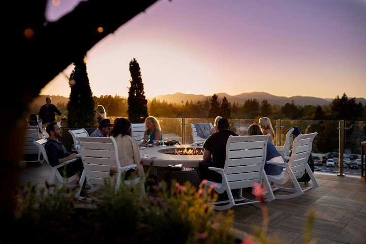 Fire pit at Archer Hotel's Sky & Vine Rooftop Bar | Napa's Emerging Beer Scene