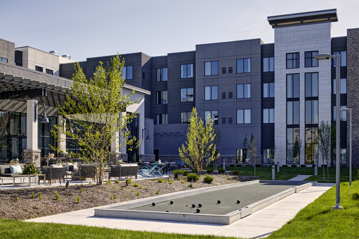 Archer's bocce ball court and patio   Welcome to Archer Hotel Florham Park