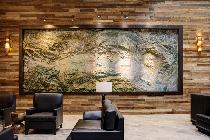 Topigraphical map of Napa Valley in the lobby of Archer Hotel Napa