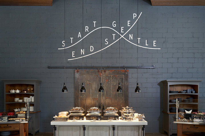 "Gray wall with ""Start Gentle, End Steep"" word art above breakfast buffet"