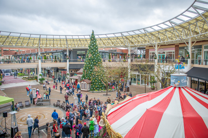 People wandering through the open-air Redmond Town Center with a huge Christmas tree and carousel.