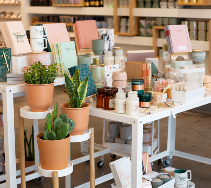 Retail space with plants, candles, journals, mugs, etc.