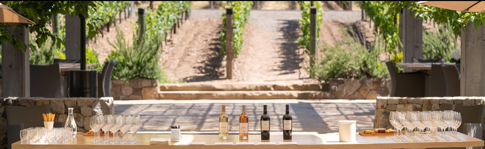 A long wood table set with wine glasses and four bottles of wine, set outside next to rows of grape vines at Kenzo Estate