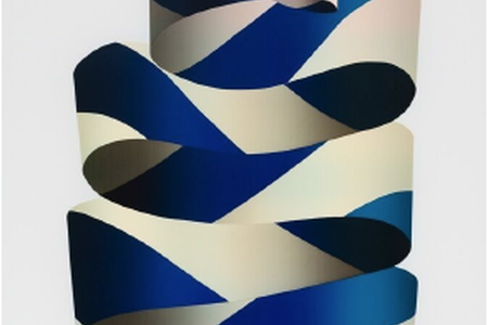 Flat Bow Rising Dark Blue, 2015 — Screenprint by Jeffrey Dell