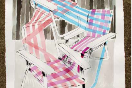 Folding Chairs (Night), 2016 — Illustration by Mike Reddy
