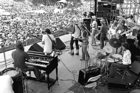 Jerry Jeff Walker & The Lost Gonzo Band w/ Leon Russell and Steve Fromholz, Willie Nelson's 4thof July Picnic Gonzales, TX, July 4, 1976 — Photograph by Scott Newton