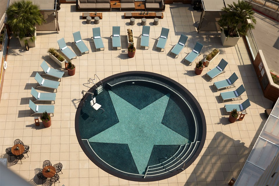 Aerial view of Archer's pool patio