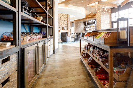 The Market — shelving with snacks