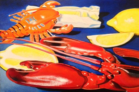 Lobsters and Lemons — Acrylic on wood by Charles Horey