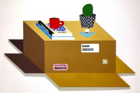 Still Life With Mug, Books — Acrylic on wood by Tim McCool