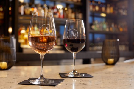 Two glasses of wine at Archer's Kitchen + Bar