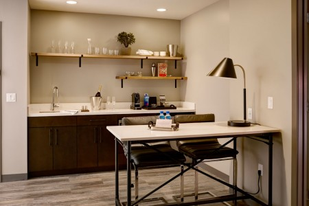 Archer's Den - fully stocked wet bar with movable island