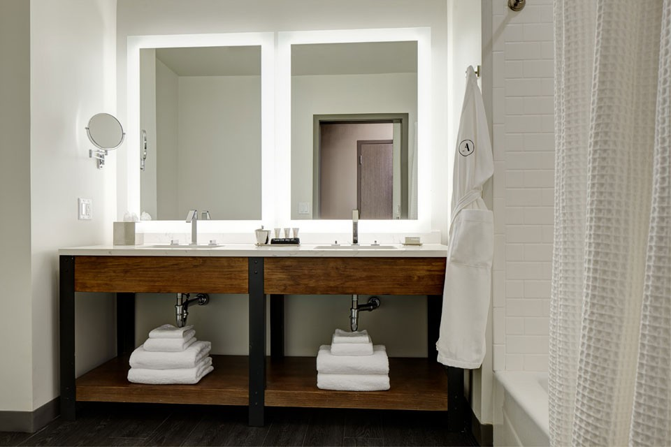 Archer Hotel Burlington Double King Mobility-Accessible Guest Room With Tub - double vanity and mirrors