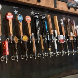 wall of beer taps}