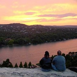 Sunrise on Mount Bonnell and Mayfield Park