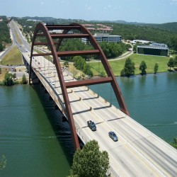 Bird's-eye view of the 360 Bridge.}