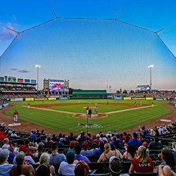 The view behind home plate at Dell Diamond}