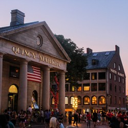 Quincy Market at dusk, with North Market in the background.}