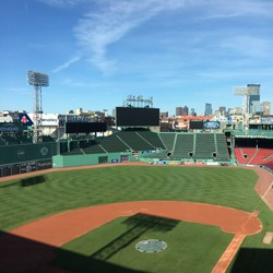Inside Fenway Park on a sunny day