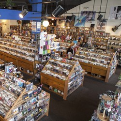 Inside Waterloo Records — with rows of records, CDs, DVDs and cassettes displayed for sale