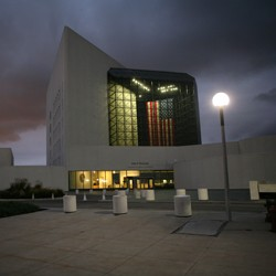 Exterior of the John F. Kennedy Presidential Library and Museum at night