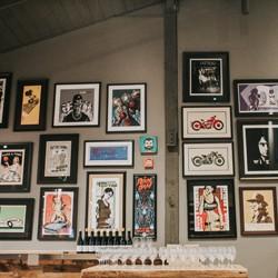 Wall of art at Mark Ryan Winery