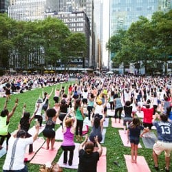 A yoga class on the lawn at Bryant Park