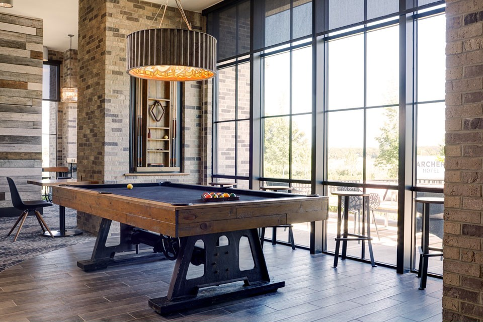 Billiards table in Archer's Kitchen + Bar