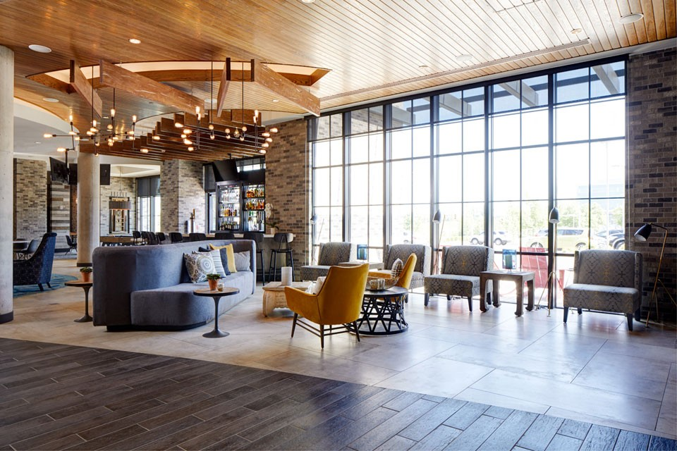 Hotel lobby with floor-to-ceiling windows