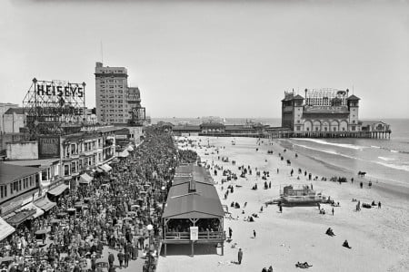 The Jersey Shore circa 1920: Atlantic City Boardwalk and New Garden Pier, — Photograph by Detroit Publishing Company