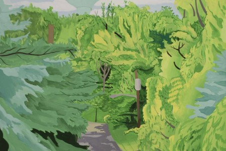 Florham Park: Summit Rd. Watertower, 2017 Gouache by Alec Dartley